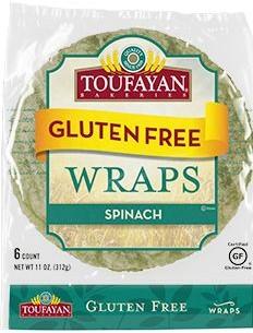 "Toufayan Spinach Gluten Free Wrap 9"""